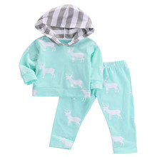 Autumn Baby Clothes Set Cute Newborn Baby Boy Girl Deer Hooded Tops Tshirt Coat+Pants Outfits Clothes Bbay Set 0-24M
