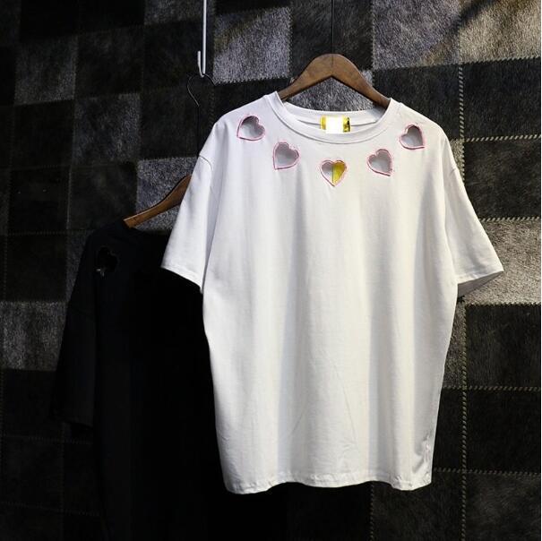 -Manga curta T-shirt feminina verão da Coréia Do novo colégio irmã macio bordado amor irmã instalado