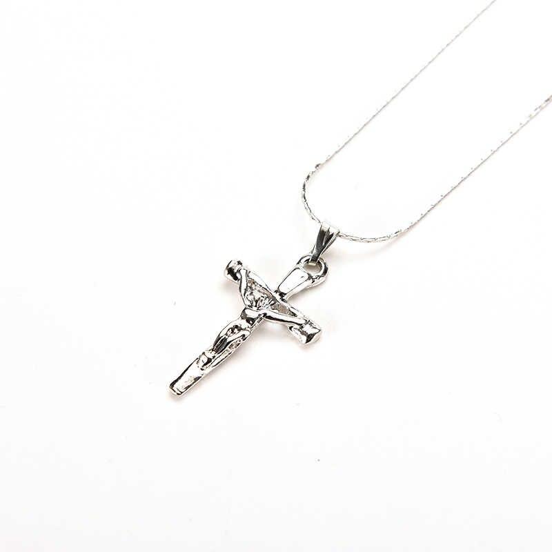 1 Pc Trendy naszyjniki Unisex naszyjnik chrystus krzyż posrebrzane jezus krucyfiks miecz naszyjnik biżuteria