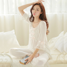 Spring and summer three quarter sleeve top and trousers pijama pure cotton princess royal lace white lounge pajamas