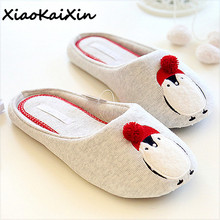 XiaoKaiXin Fashion Ladies Animal Embroider Slippers Women 2018 Spring/Autumn Penguin Style Indoor Floor Cotton Flats Home Shoes