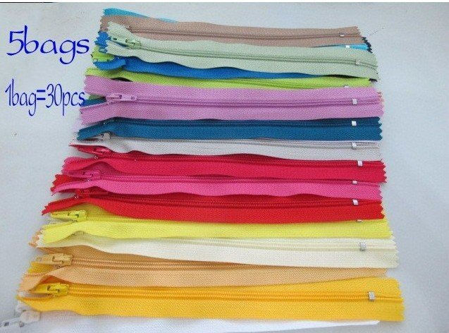 "Free Shipping 5bags New Color Nylon Coil Zippers Tailor Sewer Craft 7"" 1bag=30pcs"