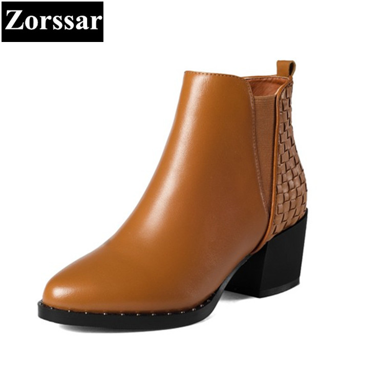 где купить {Zorssar} 2017 NEW Winter Ladies shoes Fashion Real leather Women Ankle Boots High heels platform Womens Martin boots Size 33-43 по лучшей цене
