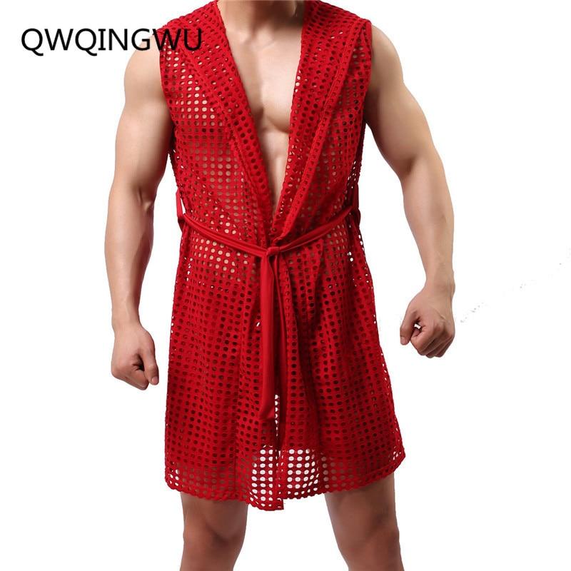 Men Robes Fashion Hollow Out Breathable Nightwear Sexy Sleepwear Bathing Robe Gay Male Clubwear Lingerie Men Lounge Clothings