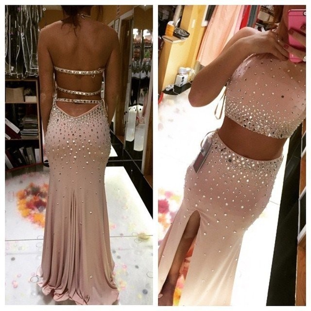 9073d9f0b13 Luxury Beads Long Mermaid 2 Piece Prom Dresses 2017 Halter Neck Crystal  Side Slit Two Piece Prom Dress Pageant Gown For Women