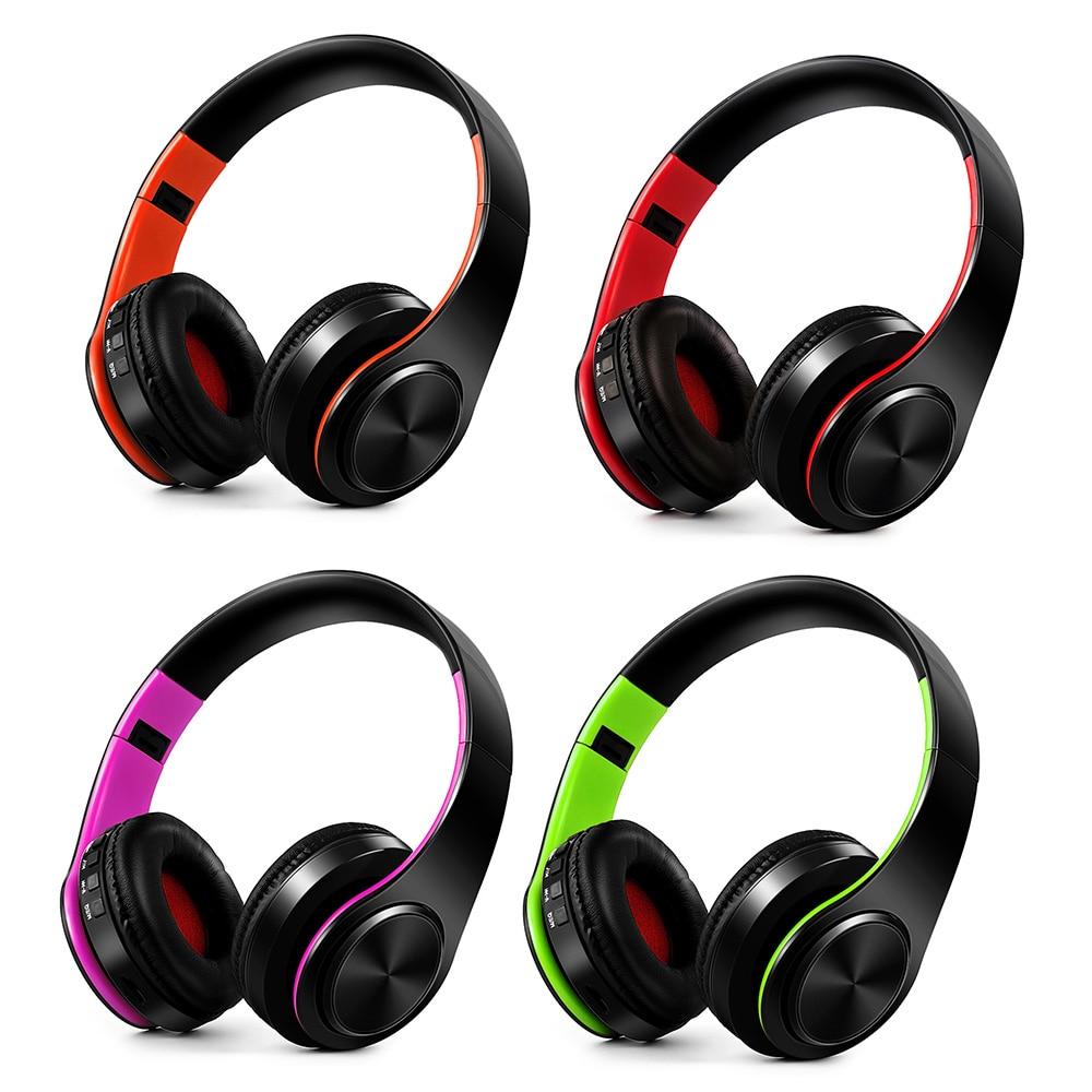 bilder für Drahtlose Bluetooth 4,0 Kopfhörer Stereo Kopfhörer Mp3-player TF Karte FM Radio 3,5mm Verdrahtete Kopfhörer freisprecheinrichtung w/Mic Lila