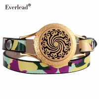 Everlead Wrap Bracelets Camouflage Gold Color Plated Real Leather Aromatherapy Essential Oil Diffuser Screw Down Locket