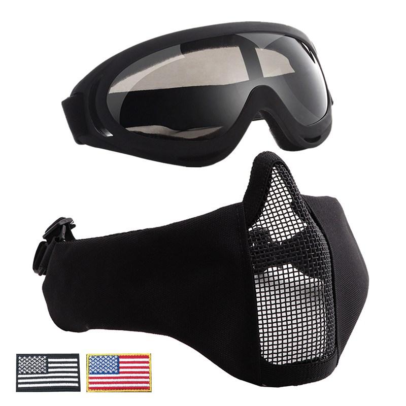 Tactical Airsoft Half Face Masks Breathable Half Metal Steel Mesh Face Mask + UV400 Goggles+Armband Set For Tactical HuntingTactical Airsoft Half Face Masks Breathable Half Metal Steel Mesh Face Mask + UV400 Goggles+Armband Set For Tactical Hunting