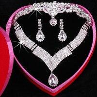 2017 nueva llegada gota de agua colgante collar Pendientes Sets para las mujeres rhinestone de lujo novia corona Juegos de joyería ad1575