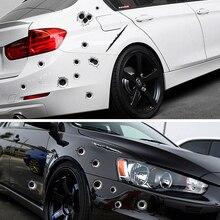 SPEEDWOW, 1 шт., наклейки для автомобиля, 3D, пулевое отверстие, забавная наклейка, автомобильные Чехлы, царапина на мотоцикле, реалистичные, пулевое отверстие, водонепроницаемые наклейки