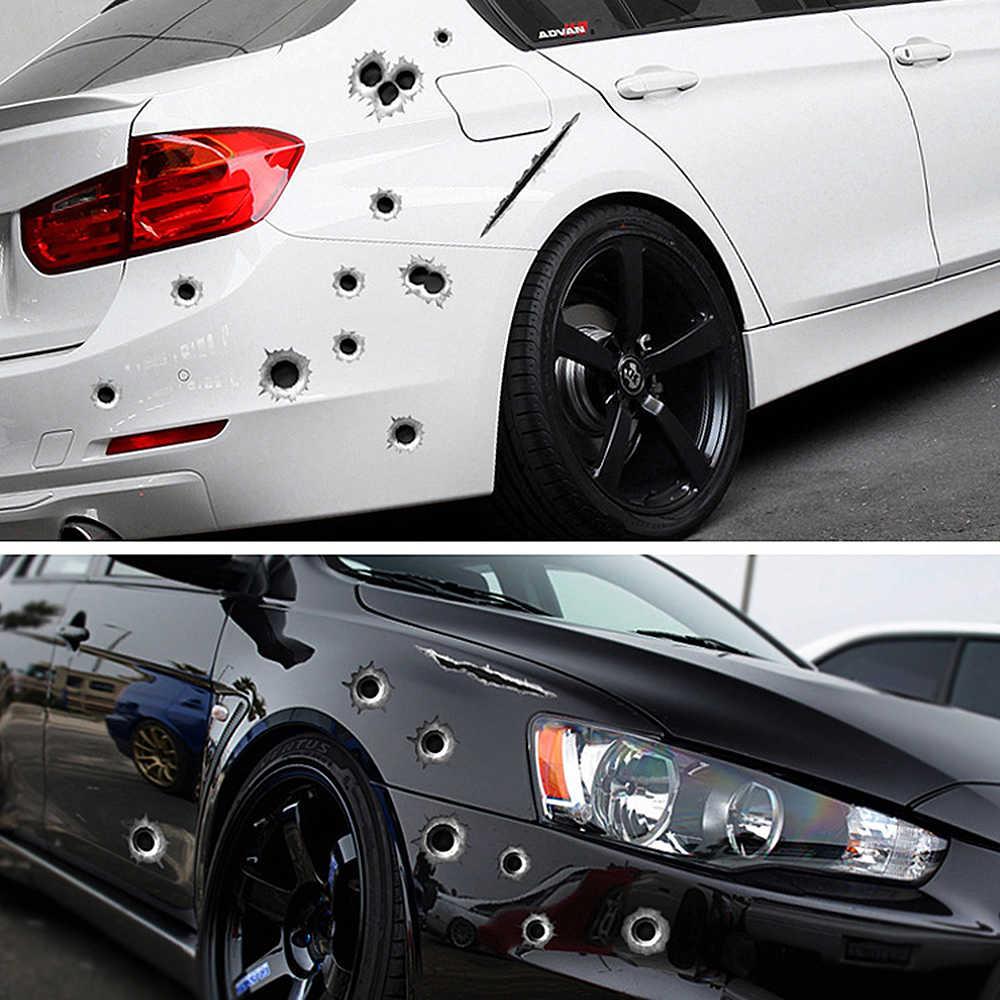 SPEEDWOW 1Pcs רכב מדבקות 3D Bullet חור מצחיק מדבקות לרכב-מכסה אופנוע שריטה מציאותי כדור חור עמיד למים מדבקות