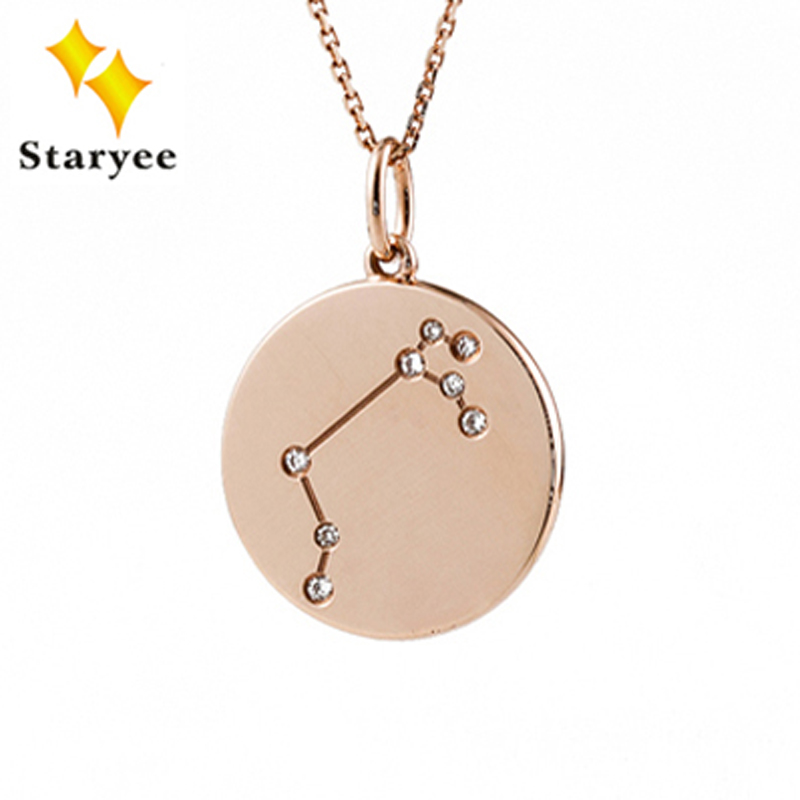 12 Constellation Pendant Necklaces Real 18K 750 Yellow Gold Natural Diamond Zodiac Sign Chain Necklace Jewelry