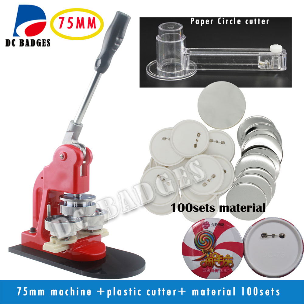 Low cost 3 75mm Button Machine set+ Adjustable Circle Cutter+100 Sets Pinback Badge components free shipping new pro 1 1 4 32mm badge button maker machine adjustable circle cutter 500 sets pinback button supplies