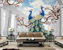 Купить с кэшбэком Beibehang Custom Wallpaper Home Decorative Fresco Scandinavian Style Auspicious Peacock Relief 3D TV Wall Background wallpaper