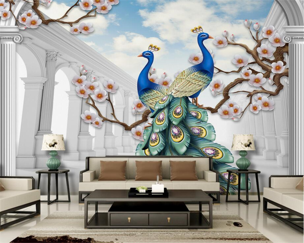compare prices on peacock wallpaper online shopping buy low price