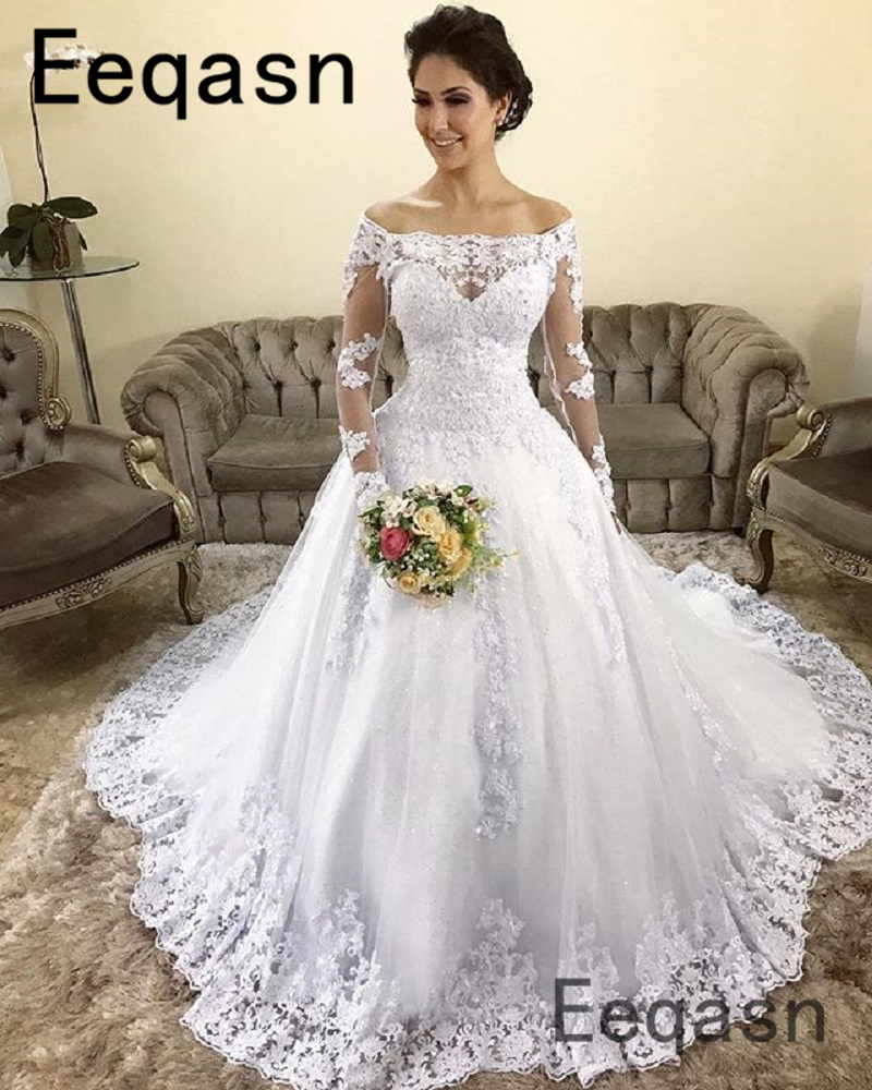 Ball Gown Wedding Dress 2019 Long Sleeve Illusion Lace Appliques Saudi Court Train Vestido De Noiva Plus Size Bridal Gowns