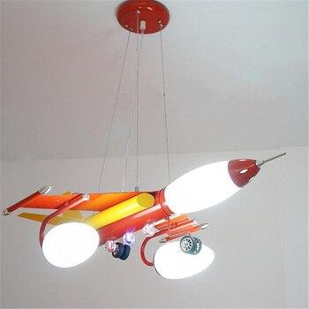 מטוס גדול אדום כחול מתכת נברשת תאורת השעיה מנורת סלון חדר שינה ילדי לילדים בני גופי PL269