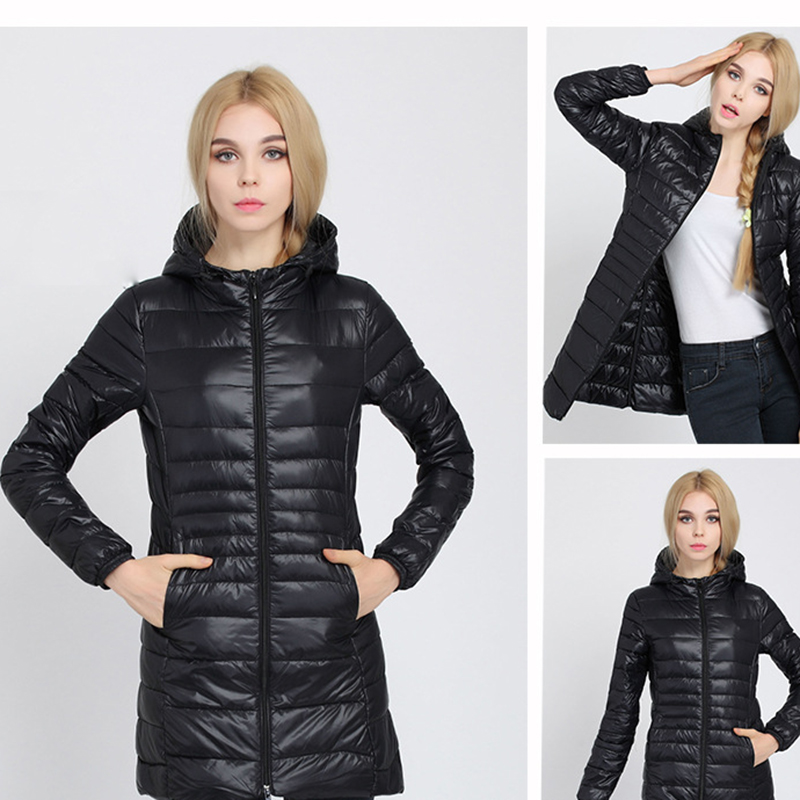 Long Hooded Slim Jackets Packable Light Weight Jacket Women Winter Coats Cotton Padded   Parkas   Outwear Plus Size 5XL KLD1269