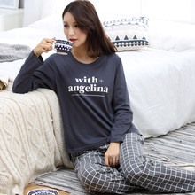 Spring and autumn women's 100% long-sleeve cotton sleep set brief letter 100% cotton young girl trousers lounge