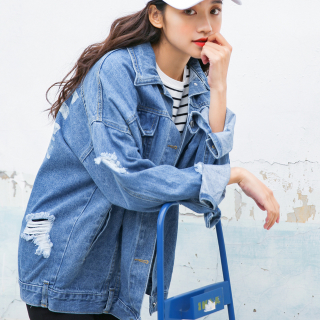be3ac0b7b US $30.22 29% OFF|2018 New Ladies Blue Black Denim Jackets Slim Fit Jeans  Coat Classical Jackets Coats Long Sleeve Summer Casual Female Jackets-in ...