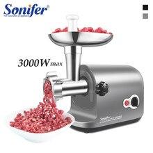 Sonifer – Hachoir à viande électrique, en acier inoxydable, 3000 W,robot de ménage robuste pour hacher, préparer et remplir des saucisses faites maison,
