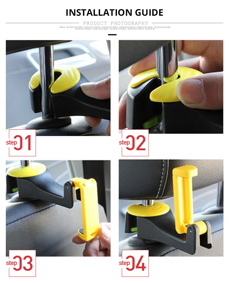 Car Seat Back Hooks Bags Hanger Phone Holder Organizer Headrest Mount Storage Hooks Clips Universal Car Bracket Auto Accessories (10)