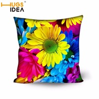 HUGSIDEA 3D Flowers Print Square Cushions For Chairs Car Floor Polyester Pillow Sofa Decoration 45x45CM Comfortable