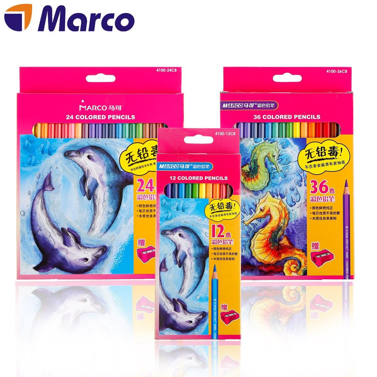 Marco 12/24/36 ensemble De crayons De Couleur sans plomb Poison bois Pastel crayons De Couleur Lapis De Cor crayons d'art De Couleur
