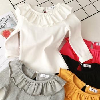 Toddler Kids Baby Girls Cotton shirt Long Sleeve Solid Tops Spring Autumn Girls Basic Tee Shirt RT508 5