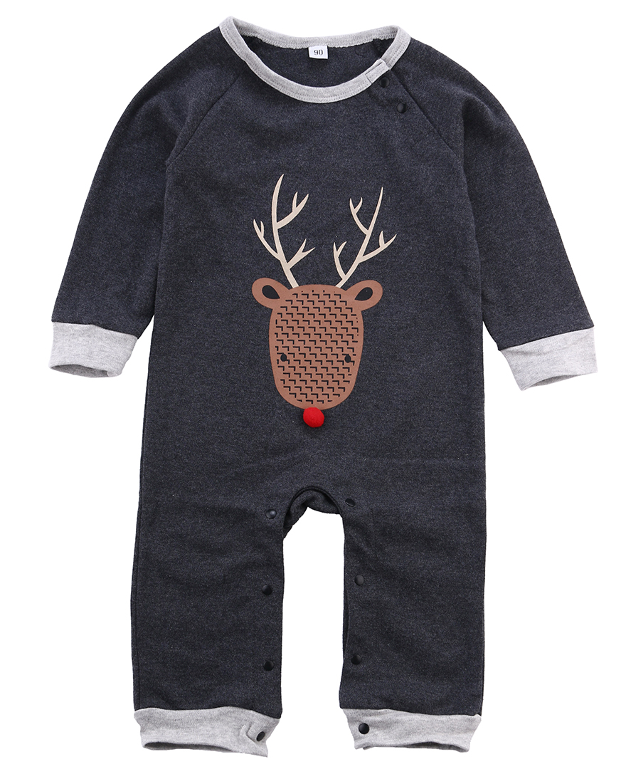 Toddler Newborn Kids Baby Boys Deer Autumn Outfits Cartoon Printed Infant   Romper   Jumpsuit Toddler Clothes