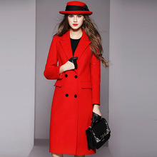 2016 winter high fashion in Europe and America the red woolen cloth suit as the double-breasted slim long wool coats women