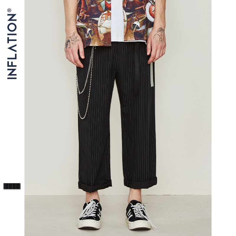 INFLATION Men's Ankle-Length Pants Stripe Regular Straight Pants 2019 Icon Vintage Clothes Hight Street Fashion Trousers 9329S