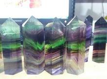 Natürliche 60*18mm lila grün fluorit QUARZ WAND POINT HEALING