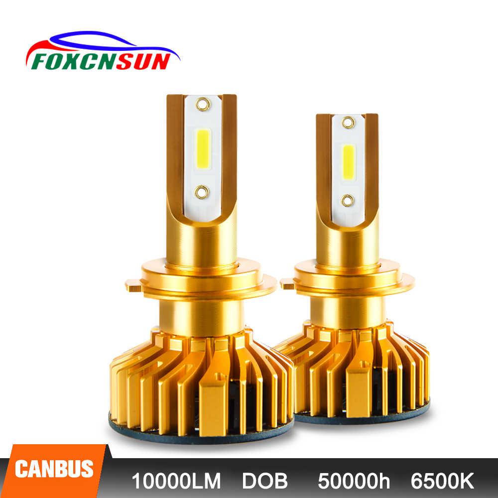 Foxcnsun 2 יחידות H7 LED H4 רכב פנס H1 H3 H11 H7 9005 9006 72 w 10000lm אוטומטי Hi Lo קרן H8 H9 HB4 HB3 6500 k CANBUS DOB שבב 12 v