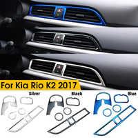 5 pièces/ensemble style de voiture Chrome sortie d'air cercle couverture intérieur moulures décoration cadre pour Kia Rio 4 K2 2017 2018