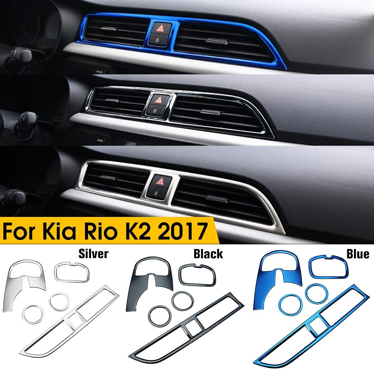 5 unids/set coche Stying cromo de salida de aire círculo cubierta Interior molduras decoración marco para Kia Rio 4 K2 2017, 2018