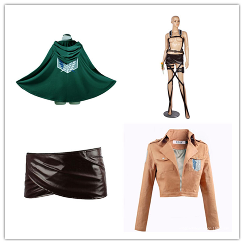 Hot Anime Attack on Titan Cosplay Costumes Coat Skirt Cloak Belt Group Eren Mikasa Scout Regiment Clothing Helloween Party Gift
