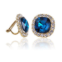 Square Clip Earrings no hole without piercing puncture clip on earrings for women Bijoux sea blue brincos