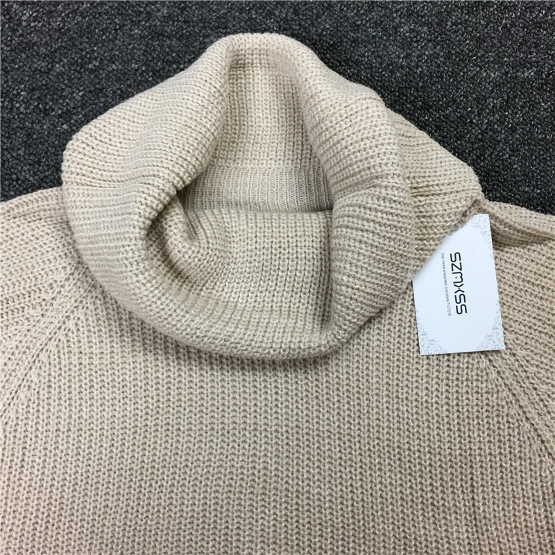 c07d905369f Womens 2017 Spring New Knitted Dress Autumn Winter High Neck Sweater Women  Long Sleeve Beige Color Casual Oversized Knit Dress-in Dresses from Women s  ...