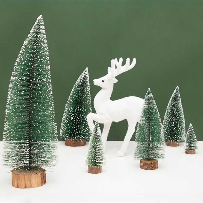 1 Uds pueblo pequeño DIY árbol de Navidad Pino artificial árbol Mini Sisal cepillo de botella árbol de Navidad Santa, nieve helada casa