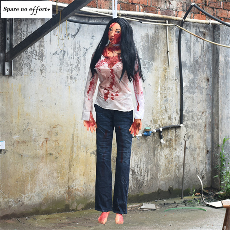Halloween décoration effrayant chambre pendaison sanglante femme cadavre réaliste Latex ornements horreur accessoires pour décor hanté maison Bar