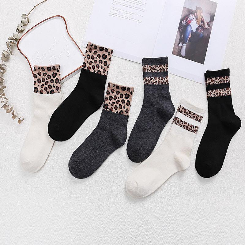Leopard Socks Women Cotton Printing Stitching Elasticity Socks European And American Style Cosy Mid Socks Female