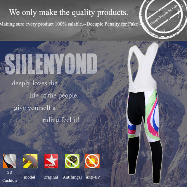 Siilenyond 2019 Women Winter Cycling Bib Pants With 3D Gel Pad Shockproof MTB Bicycle Cycling Bib Trousers Thermal Cycling Tight 2