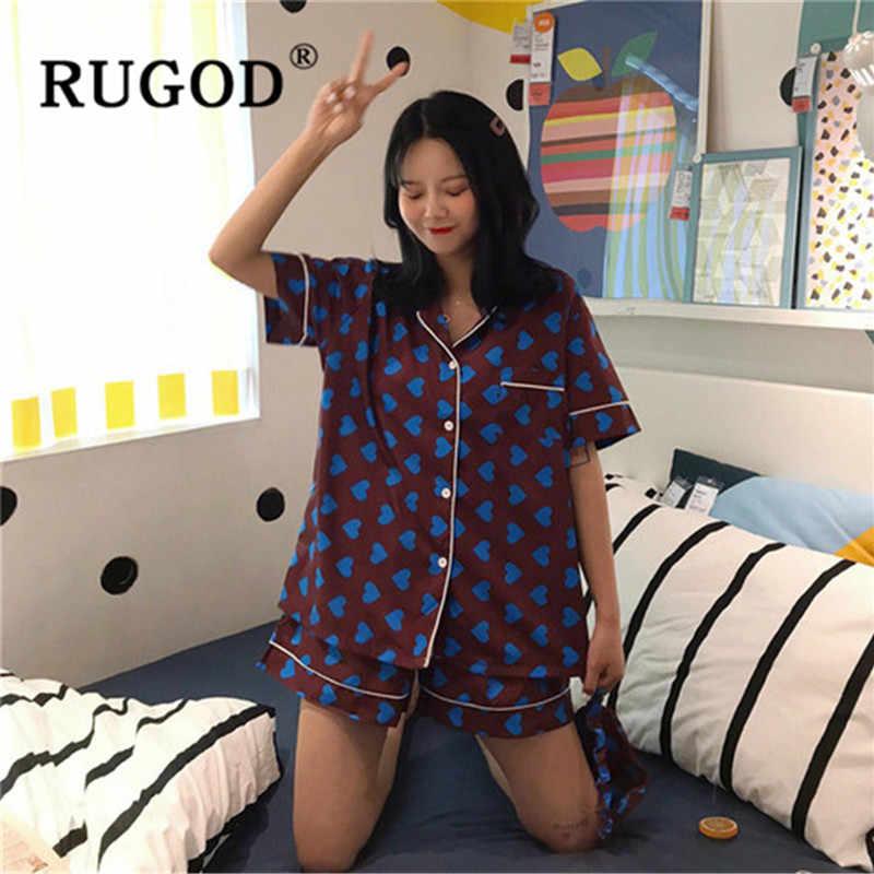 RUGOD bán Hàn Quốc bộ đồ ngủ nữ Thời Trang bụng in hình đồ ngủ phù hợp với nữ Bông Tai Kẹp Nữ Tay Ngắn 3 miếng Homewear Bộ