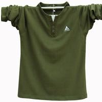 Extra Large Men's Long sleeved Cotton V neck Men's T shirt Plus Fat Plus Size Male T shirt Large