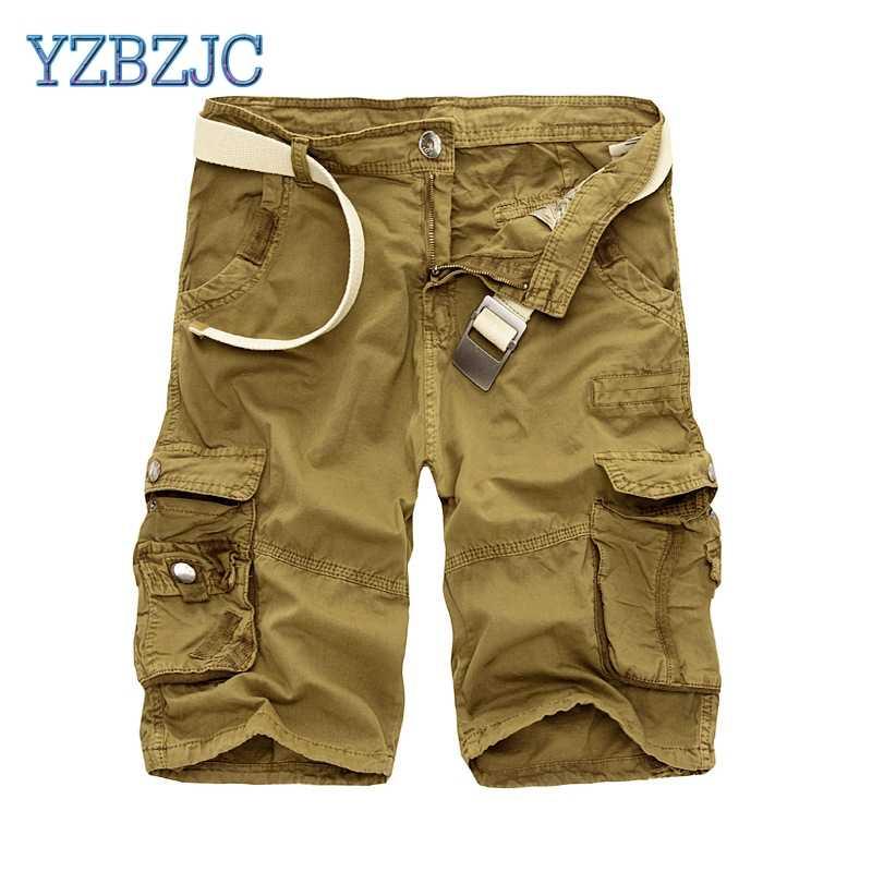 d3fb6007d2e05 Mens Military Cargo Shorts Camouflage Shorts Men Cotton Loose Work Casual  Short Pants No Belt 2018