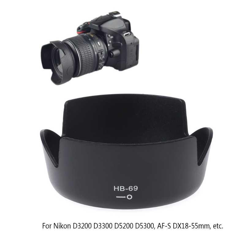 HB-69 حربة جبل عدسة الكاميرا هود D3200 D3300 D5200 D5300 DX18-55mm