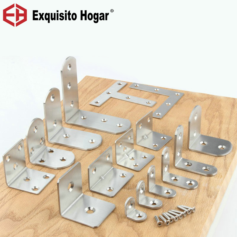 10pcs/lot Stainless Steel Universal Connector Type L 90 Degree Angle Fastener  Triangle Corner Bracket With Screw