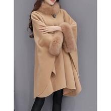 Vintage Woolen Coat Women Winter 2019 Loose Imitation Fox Fur Collar Stylish High Street Outerwear Elegant Office Lady Overcoat