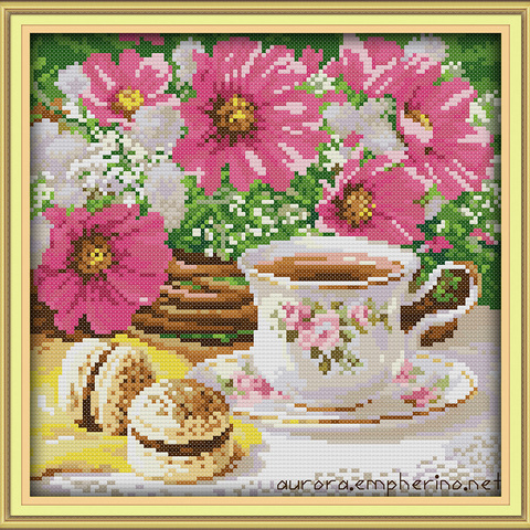 Afternoon tea cross stitch kit flower food still life 18ct 14ct 11ct printed canvas embroidery DIY handmade needlework plus Karachi